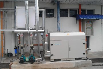 Air cooled chiller and air handling unit installation